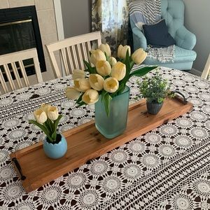 """Wooden Tray Centerpiece Candle Holder 36"""" x 7.25"""""""